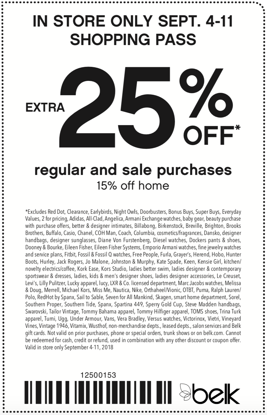 Belk Coupon July 2019 Extra 25% off at Belk