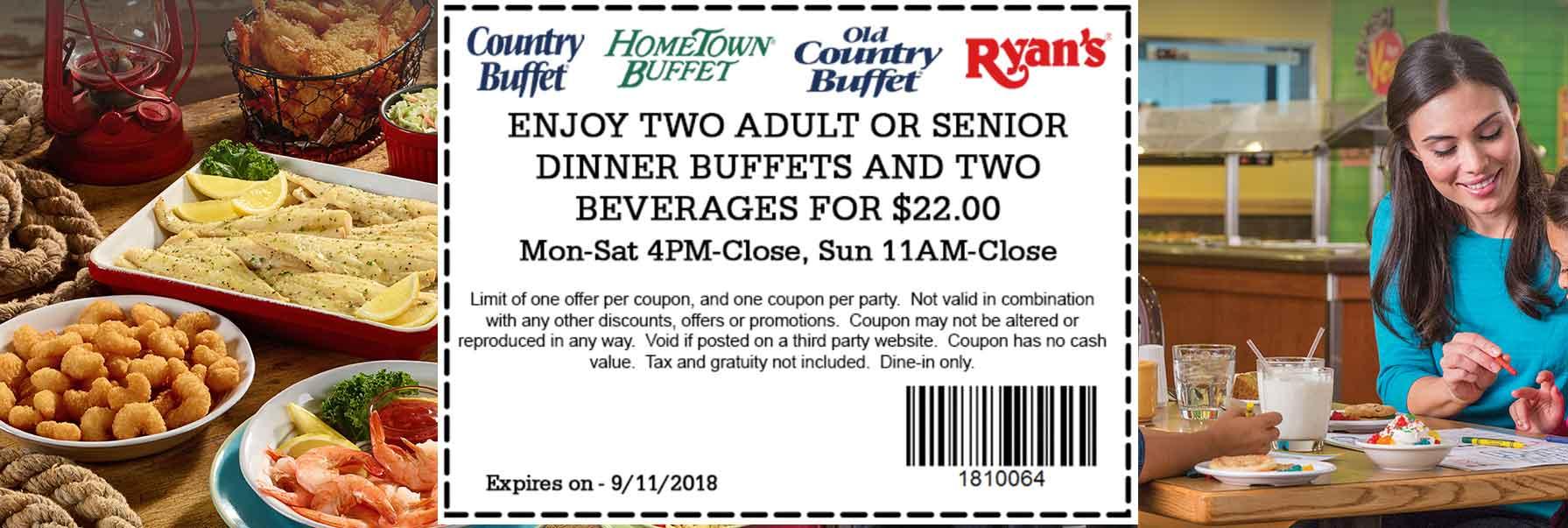 Hometown Buffet Coupon November 2019 2 dinners + drinks = $22 at Ryans, HomeTown Buffet & Old Country Buffet