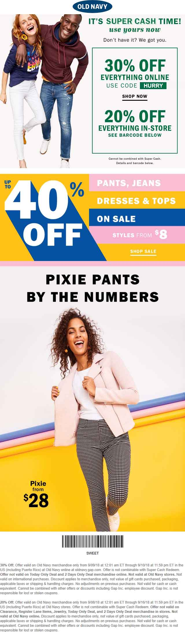 Old Navy Coupon July 2019 20% off everything at Old Navy, or 30% online via promo code HURRY