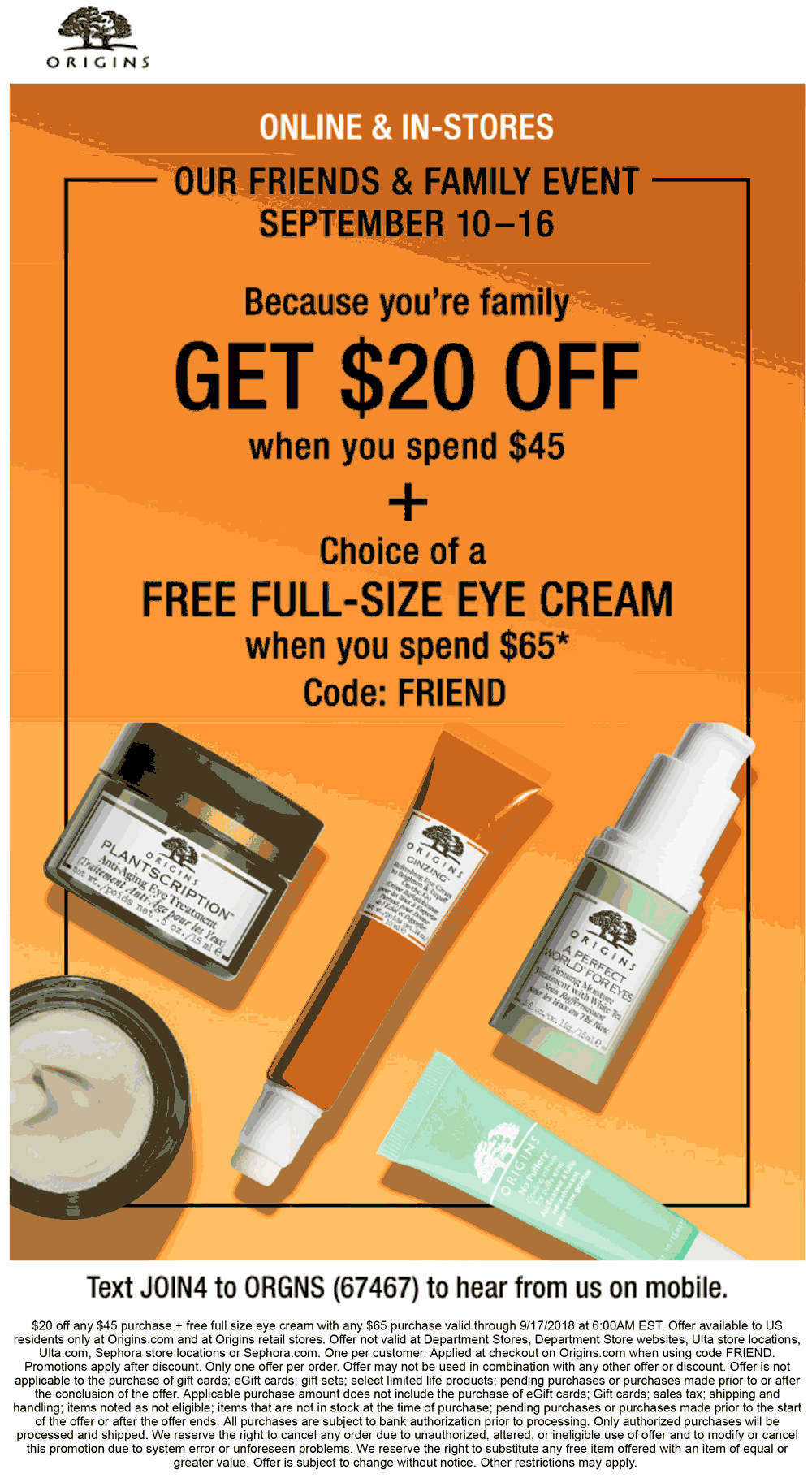 Origins Coupon July 2019 $20 off $45 & more at Origins, or online via promo code FRIEND