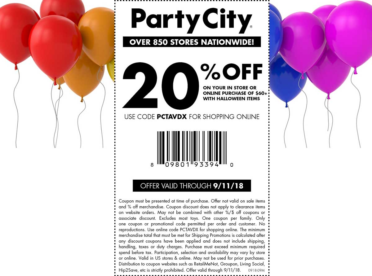 PartyCity.com Promo Coupon 20% off $60 on Halloween at Party City, or online via promo code PCTAVDX