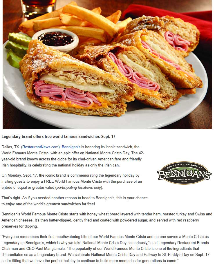 Bennigans.com Promo Coupon Free Monte Cristo sandwich with your entree Monday at Bennigans