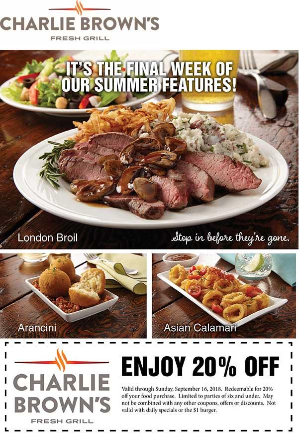 Charlie Browns Coupon May 2019 20% off at Charlie Browns restaurants