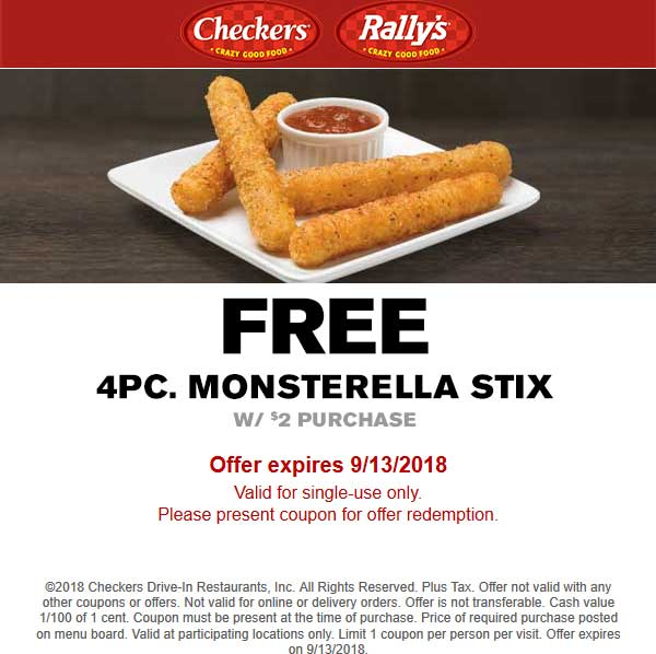 Checkers Coupon December 2019 Free mozzarella stix with $2 spent at Checkers & Rallys restaurants