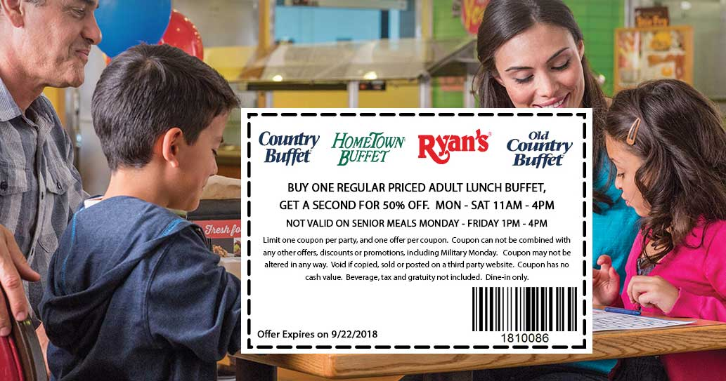 Hometown Buffet Coupon November 2019 Second lunch 50% off at Ryans, HomeTown Buffet & Old Country Buffet