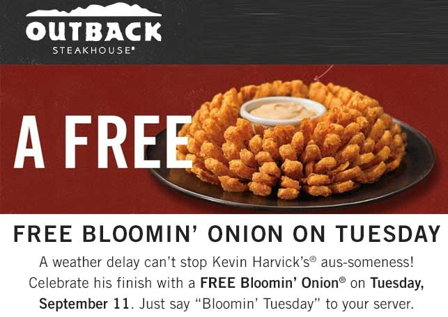 Outback Steakhouse Coupon November 2019 Free bloomin onion appetizer today at Outback Steakhouse