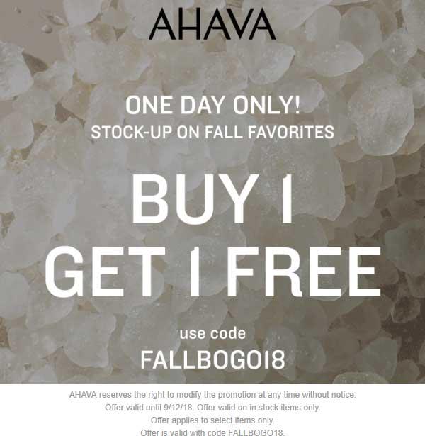 AHAVA Coupon July 2019 Second item free online today at AHAVA via promo code FALLBOGO18