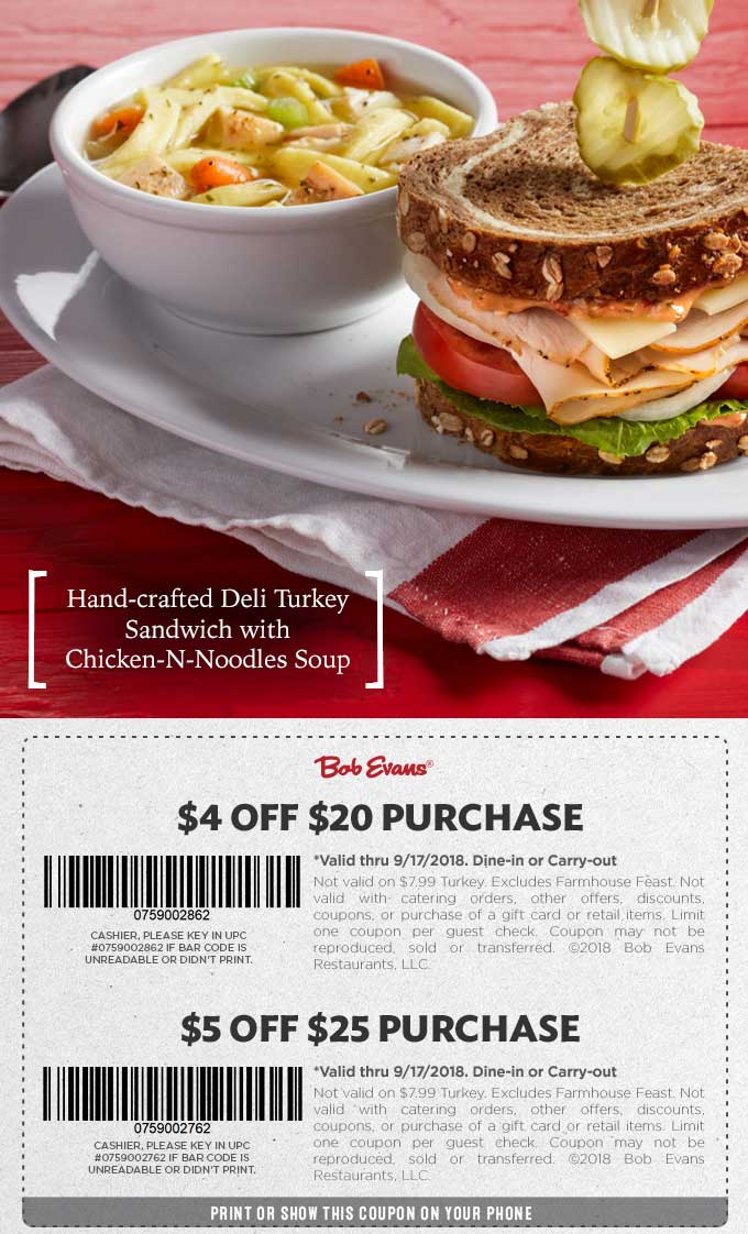 Bob Evans Coupon May 2019 $4 off $20 & more at Bob Evans restaurants
