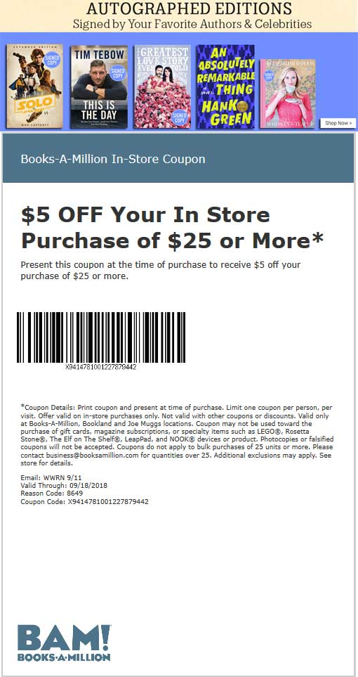 Books-A-Million Coupon May 2019 $5 off $25 at Books-A-Million, or $10 off $50 online via promo code NEW4U911