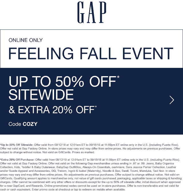 Gap Coupon July 2019 20-50% off everything online at Gap via promo code COZY