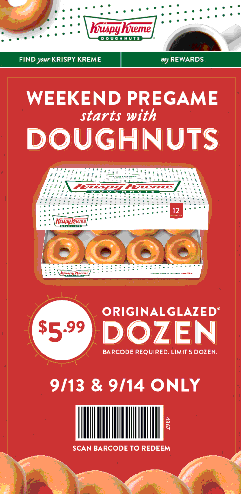 Krispy Kreme Coupon July 2019 $6 dozen at Krispy Kreme doughnuts