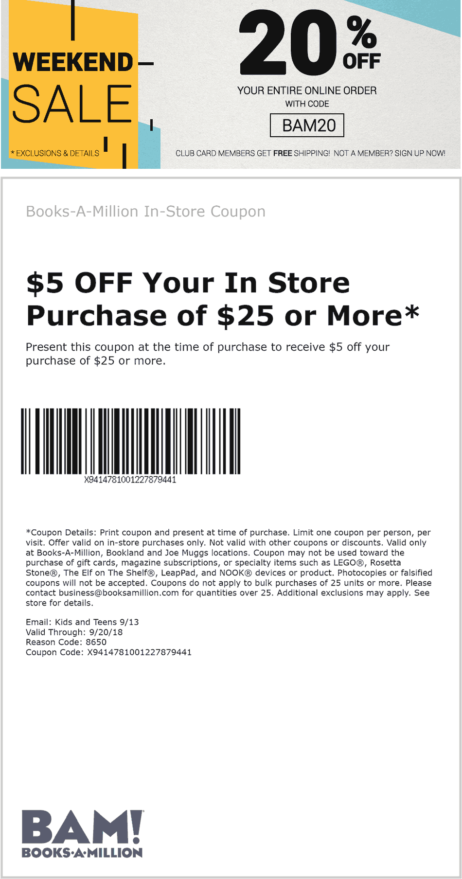 Books-A-Million Coupon November 2019 $5 off $25 at Books-A-Million, or 20% off online via promo code BAM20