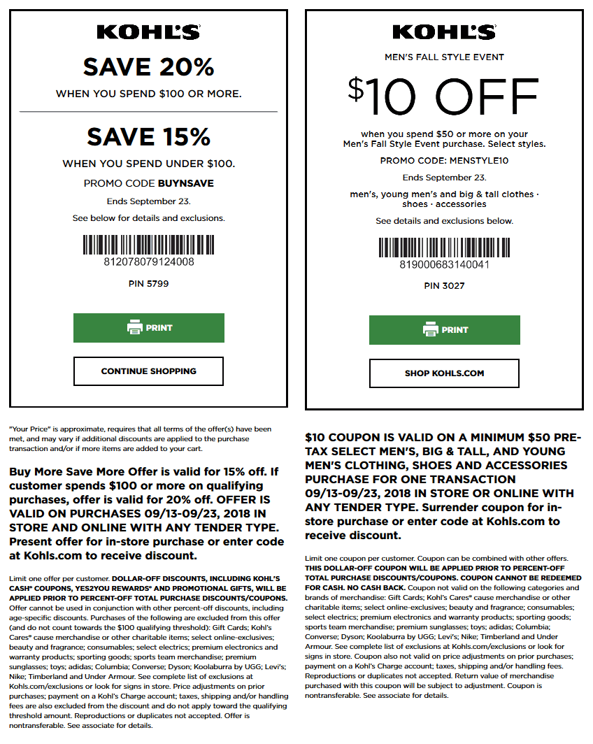 Kohls Coupon March 2019 15-20% off & more at Kohls, or online via promo code BUYNSAVE