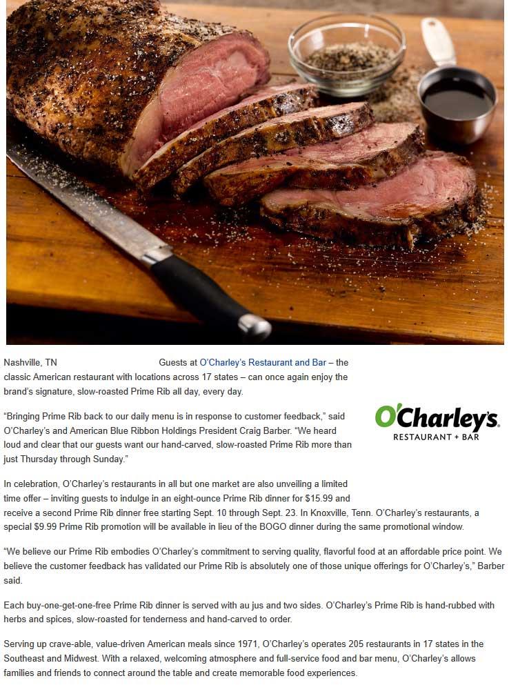 OCharleys Coupon May 2019 Second prime rib dinner free at OCharleys restaurants