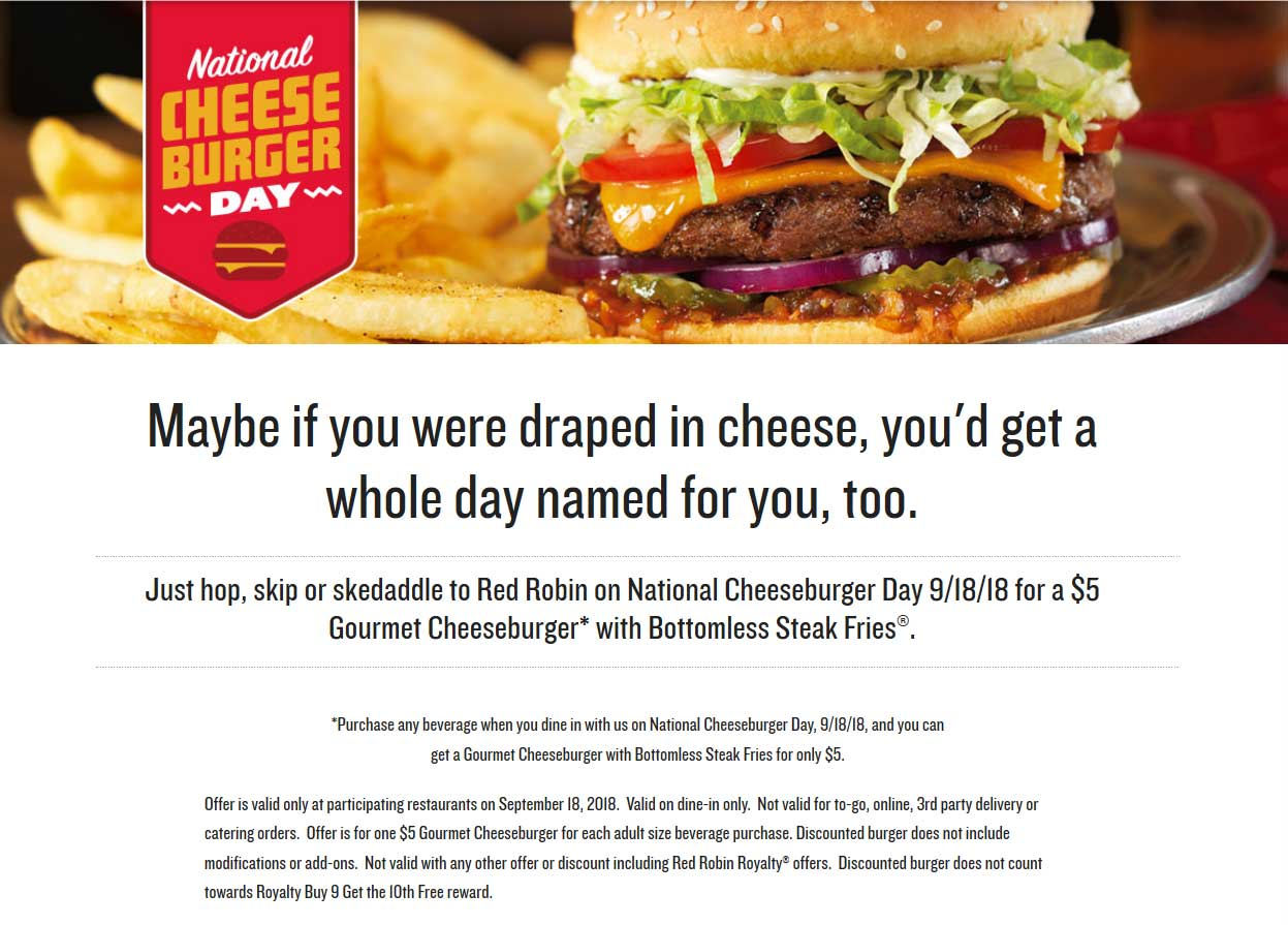Red Robin Coupon January 2020 $5 cheeseburger + bottomless steak fries at Red Robin yum