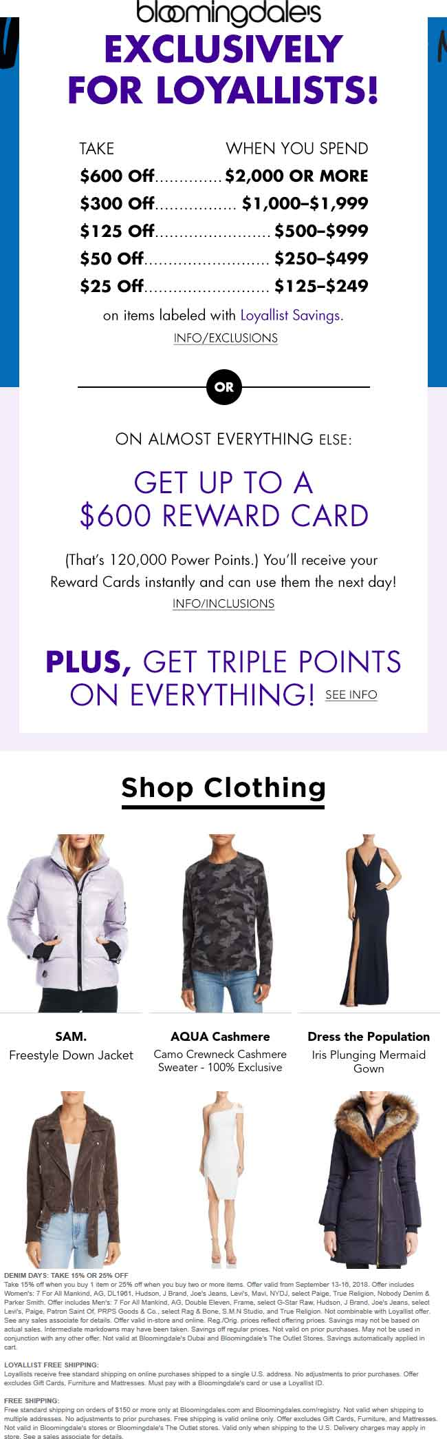 Bloomingdales.com Promo Coupon $25-$600 off $125+ at Bloomingdales, ditto online