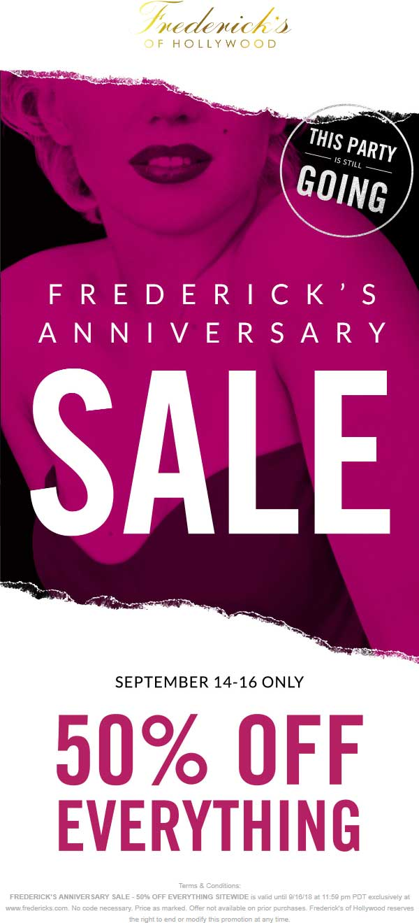 Fredericks of Hollywood Coupon November 2019 Everything is 50% off at Fredericks of Hollywood, no code needed