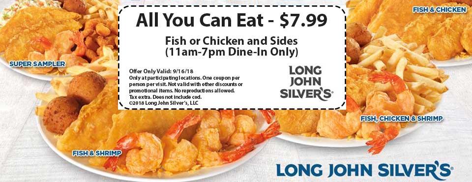 Long John Silvers Coupon July 2019 Bottomless fish or chicken = $8 Sunday at Long John Silvers