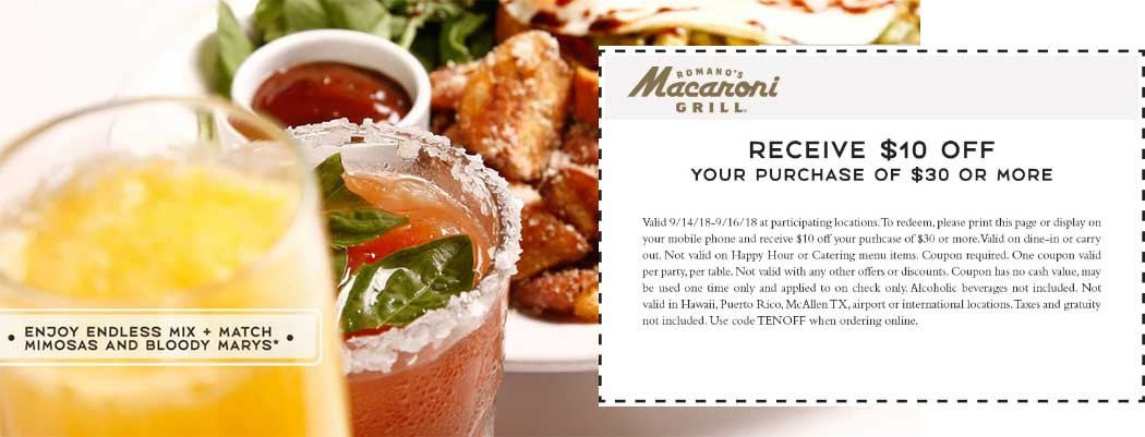 Macaroni Grill Coupon July 2019 $10 off $30 at Macaroni Grill restaurants