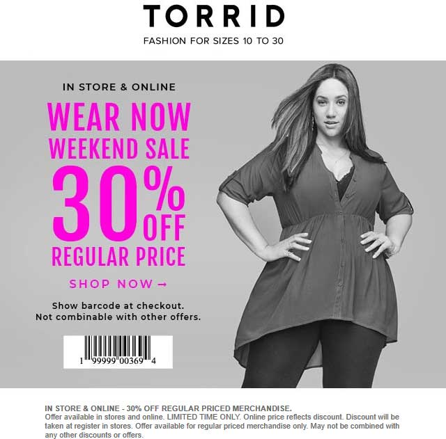 Torrid Coupon May 2019 30% off at Torrid, ditto online