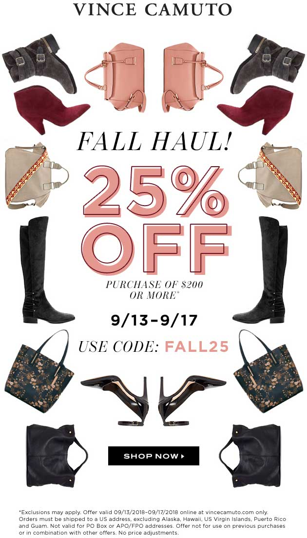 Vince Camuto Coupon May 2019 25% off $200 at Vince Camuto, or online via promo code FALL25