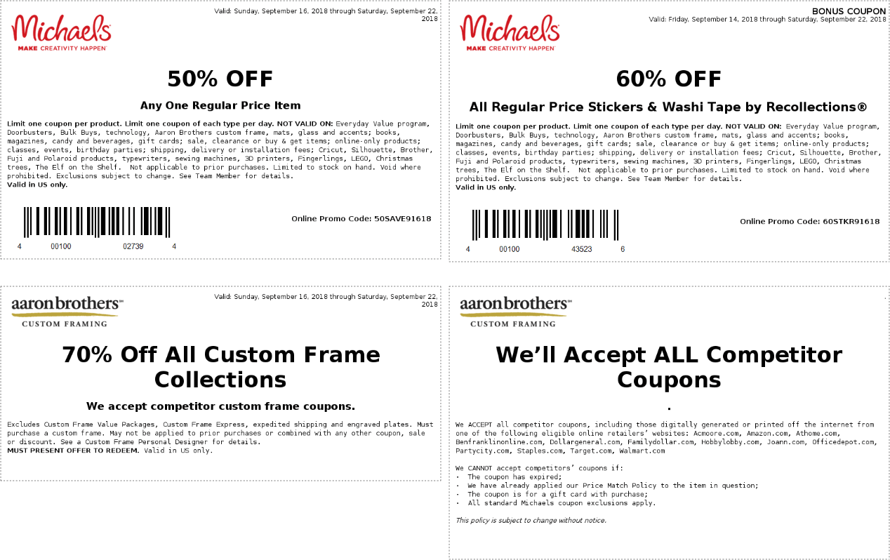 Michaels Coupon November 2019 50% off a single item & more at Michaels, or online via promo code 50SAVE91618