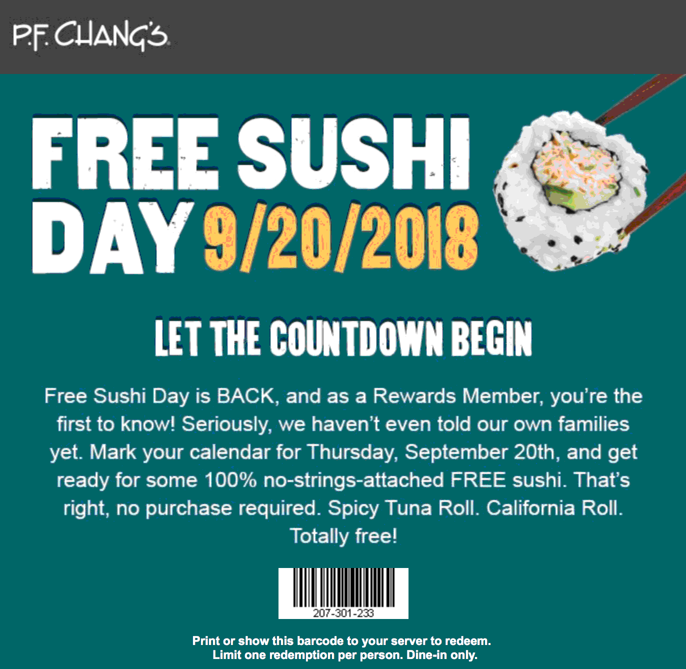 P.F. Changs Coupon July 2019 Free sushi day Thursday at P.F. Changs restaurants