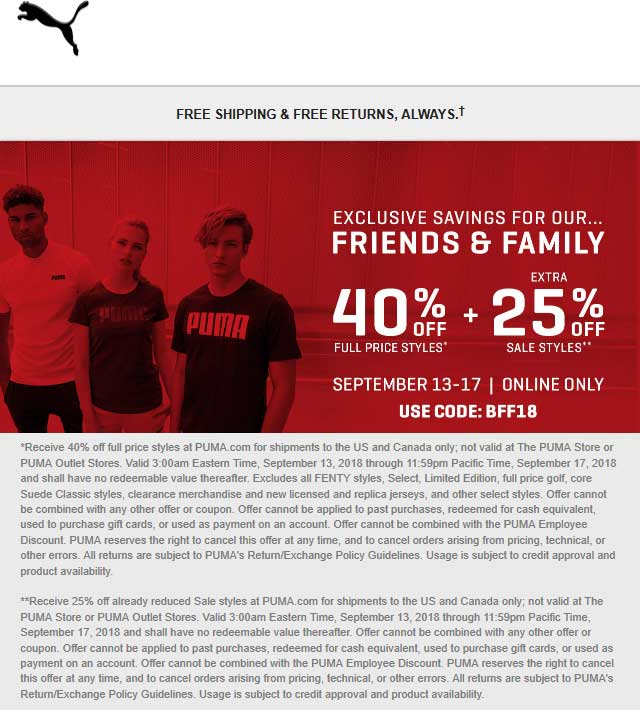 Puma Coupon September 2019 40% off online at Puma via promo code BFF18