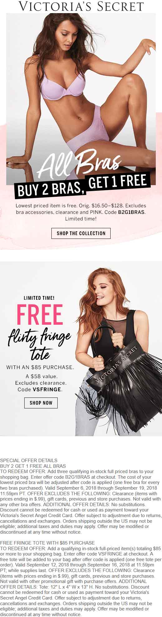 Victorias Secret Coupon May 2019 Free fringe tote with $85 spent today at Victorias Secret, or online via promo code VSFRINGE