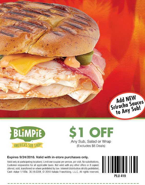 Blimpie Coupon July 2019 $1 off a sandwich or salad at Blimpie