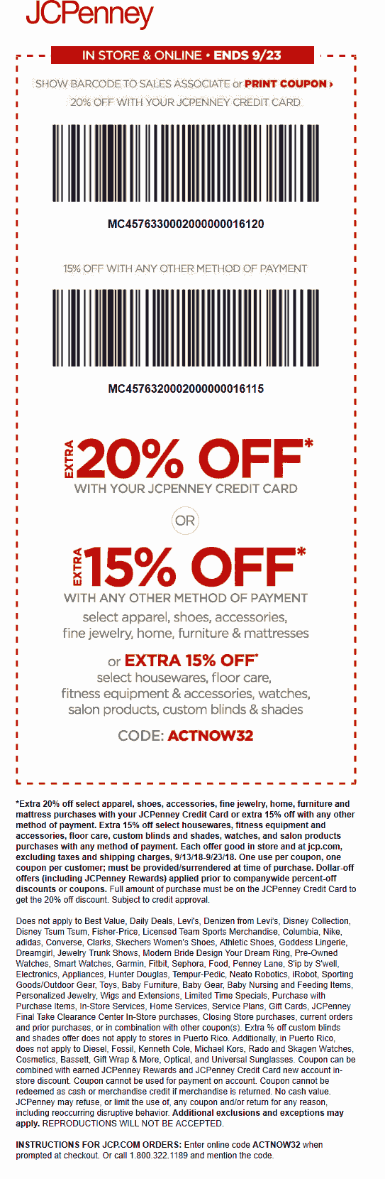 JCPenney Coupon July 2019 15% off at JCPenney, or online via promo code ACTNOW32