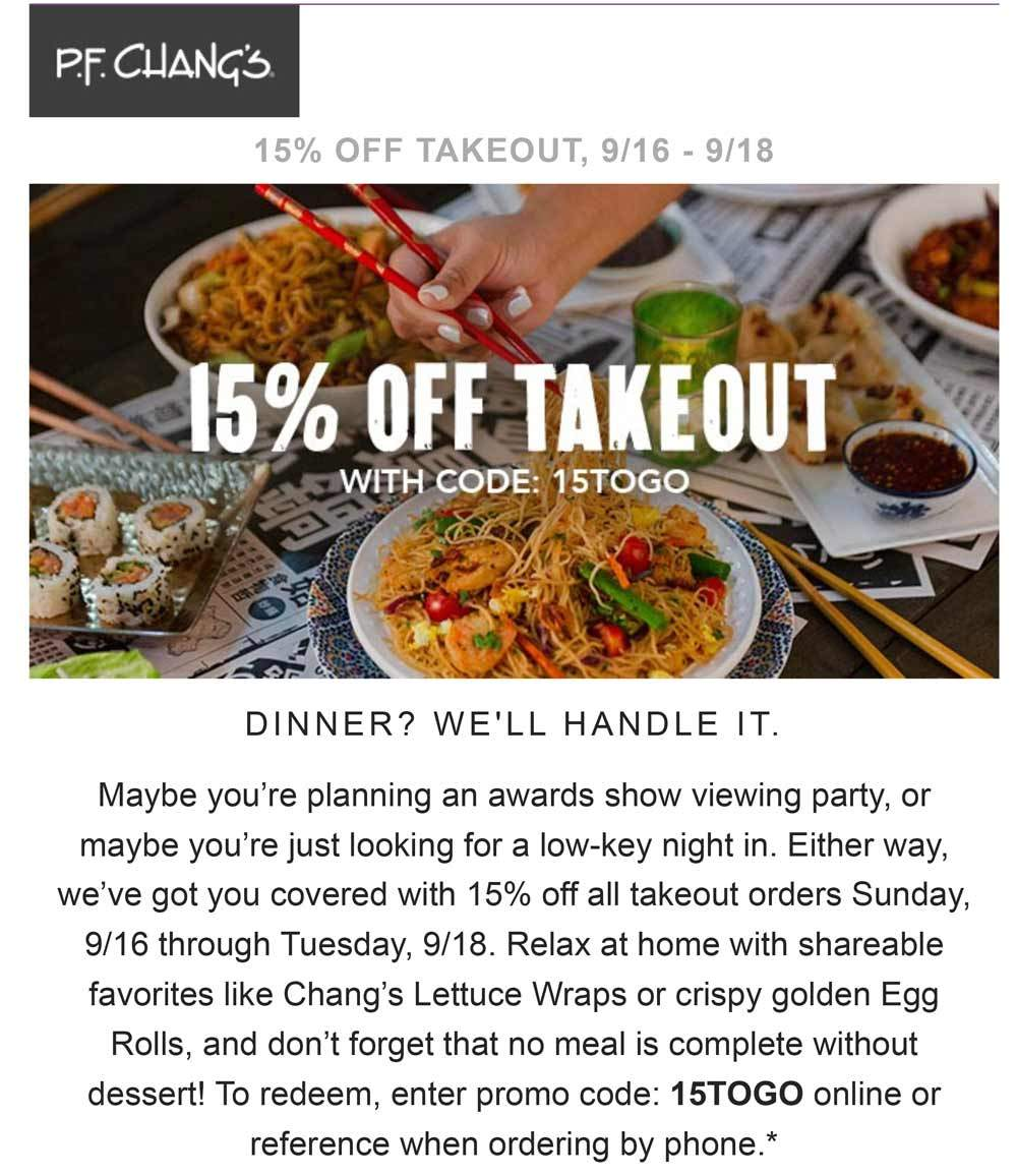 P.F. Changs Coupon July 2019 15% off takeout at P.F. Changs restaurant via promo code 15TOGO