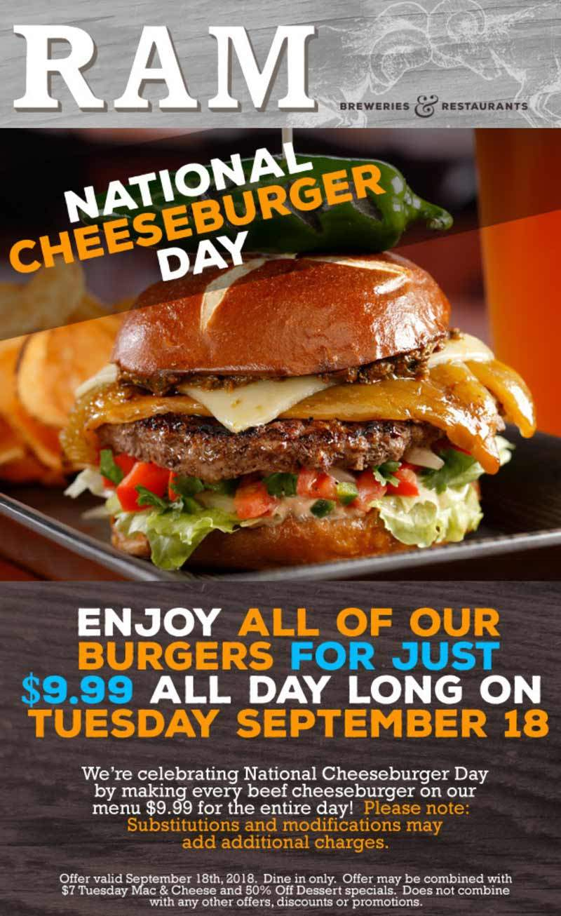 RAM Coupon July 2019 $10 burgers Tuesday at RAM brewery restaurants