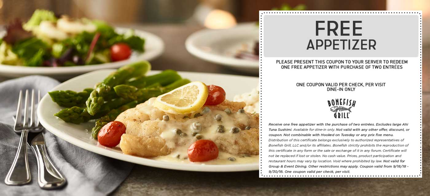 Bonefish Grill Coupon September 2019 Free appetizer with your entrees at Bonefish Grill