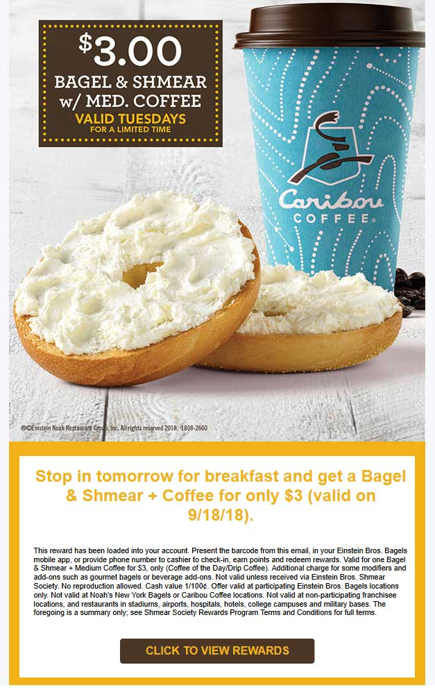 EinsteinBrosBagels.com Promo Coupon $3 bagel & coffee today at Einstein Bros Bagels