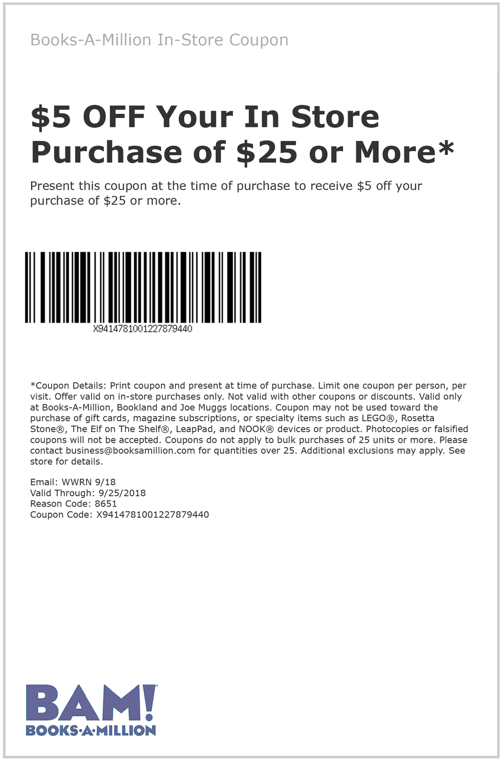 Books-A-Million Coupon July 2019 $5 off $25 at Books-A-Million