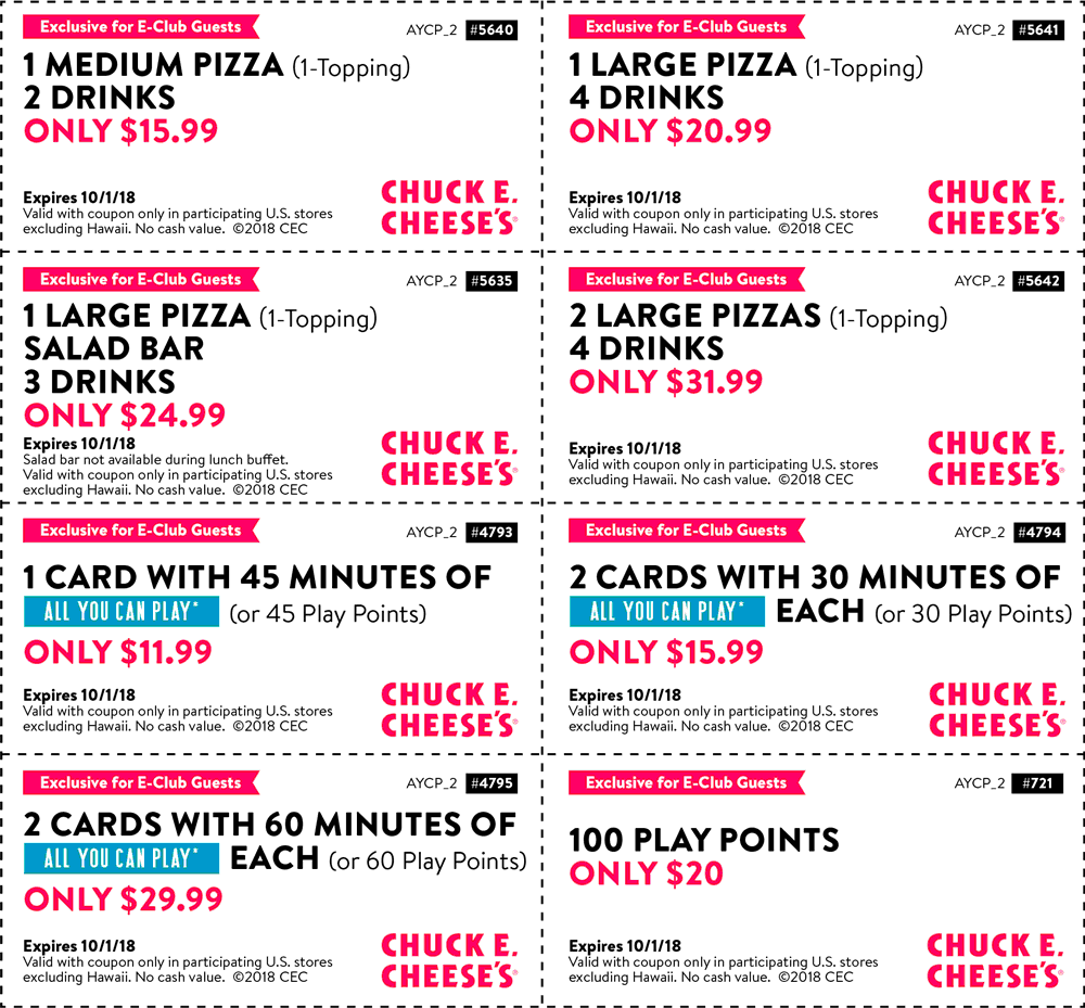 Chuck E. Cheese Coupon July 2019 45min all you can play = $12 & more at Chuck E. Cheese pizza