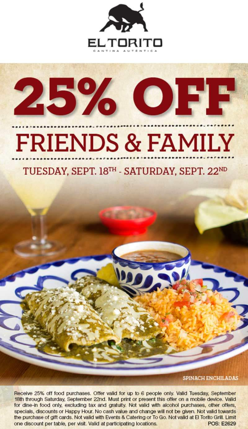 El Torito Coupon July 2019 25% off at El Torito restaurants