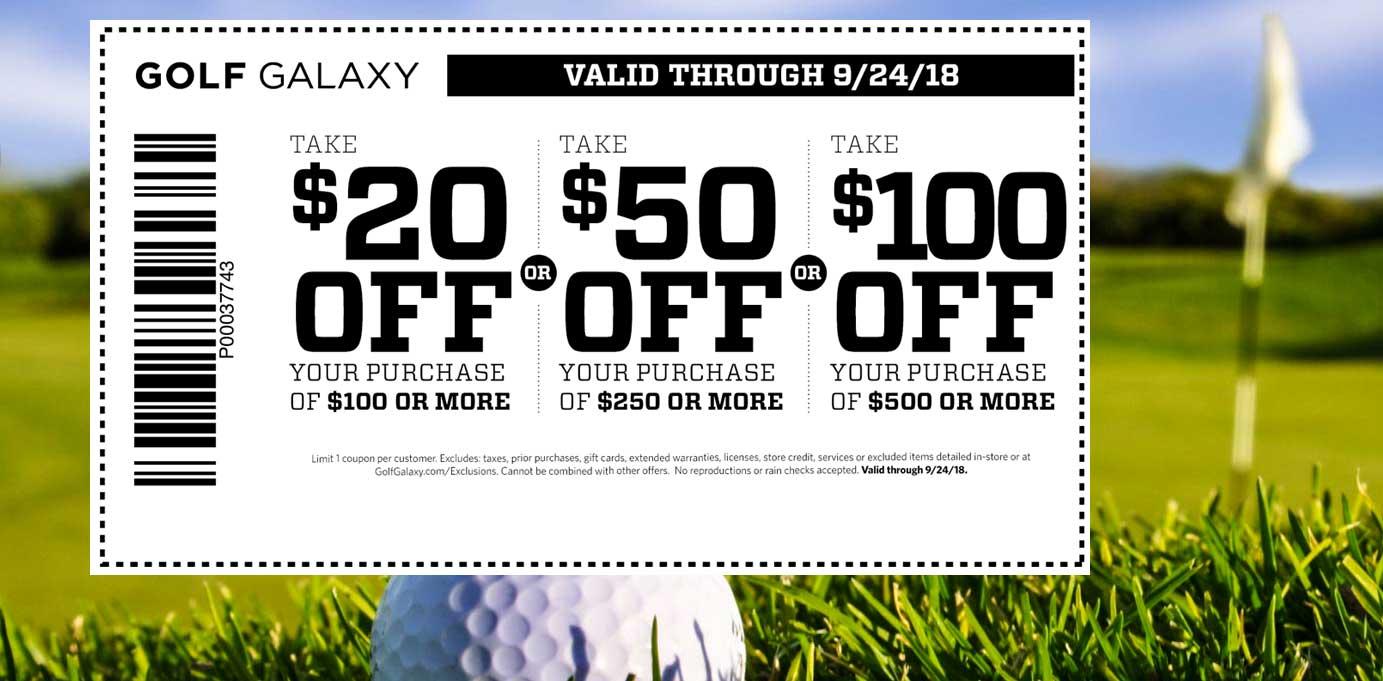 Golf Galaxy Coupon June 2019 $20 off $100 & more at Golf Galaxy