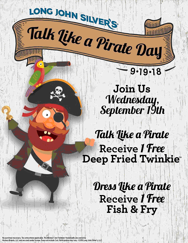 Long John Silvers Coupon July 2019 Free food today for pirates at Long John Silvers restaurants