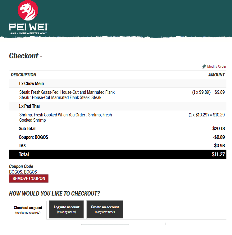 Pei Wei Coupon May 2019 Second entree free today at Pei Wei via promo code BOGOS