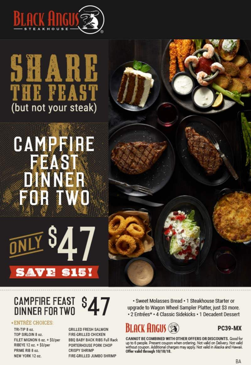 Black Angus Coupon November 2019 $15 off your steak feast at Black Angus restaurants