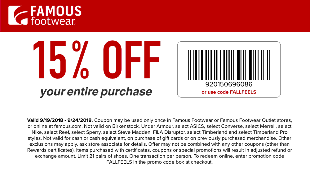 Famous Footwear Coupon May 2019 15% off at Famous Footwear, or online via promo code FALLFEELS
