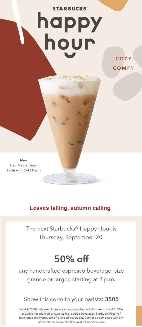 Starbucks Coupon June 2019 50% off handcrafted espresso drinks after 3p today at Starbucks