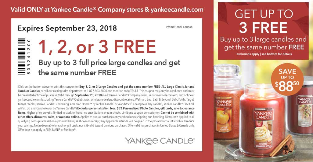 Yankee Candle Coupon June 2019 Second candle free at Yankee Candle, or online via promo code TPL18