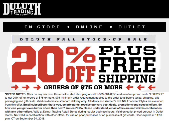 Duluth Trading Co Coupon July 2019 20% off $75 at Duluth Trading Co, or online via promo code E80920CP