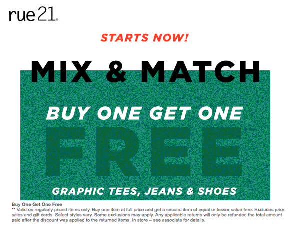 Rue21.com Promo Coupon Second item free at rue21, ditto online