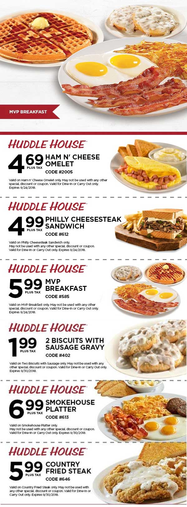 Huddle House Coupon November 2019 $6 MVP breakfast & more at Huddle House