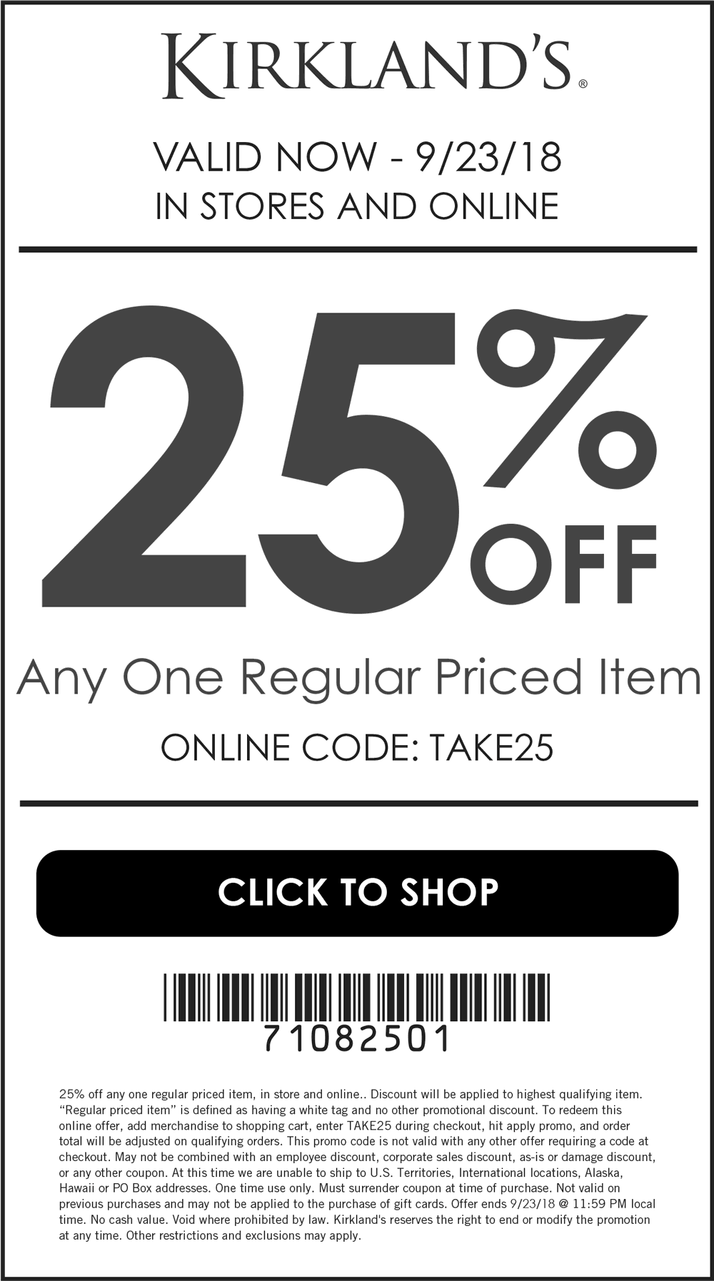 Kirklands Coupon February 2019 25% off a single item at Kirklands, or online via promo code TAKE25