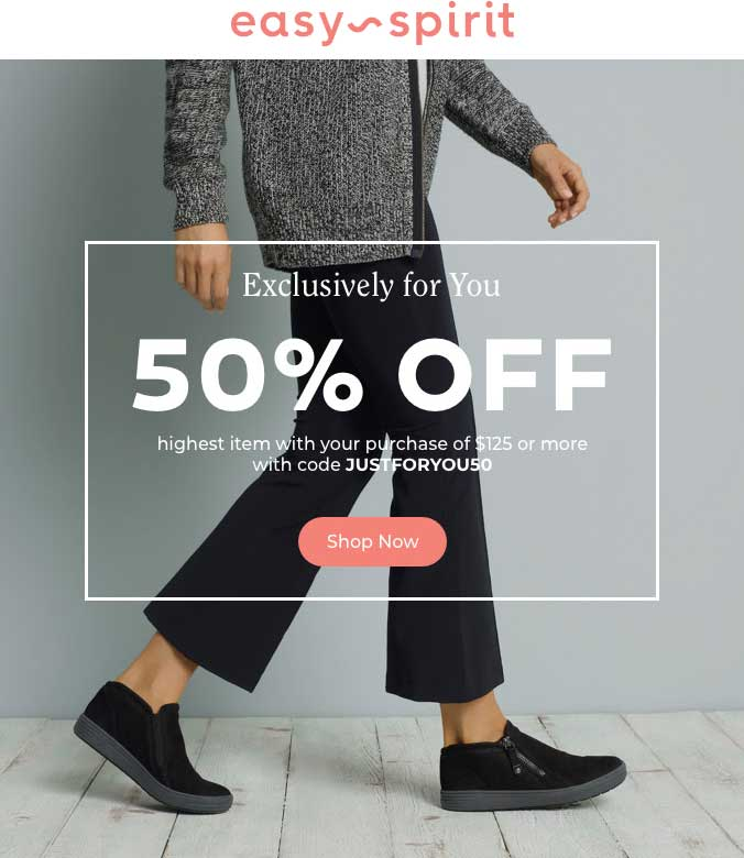 Easy Spirit Coupon May 2019 50% off $125+ online today at Easy Spirit via promo code JUSTFORYOU50